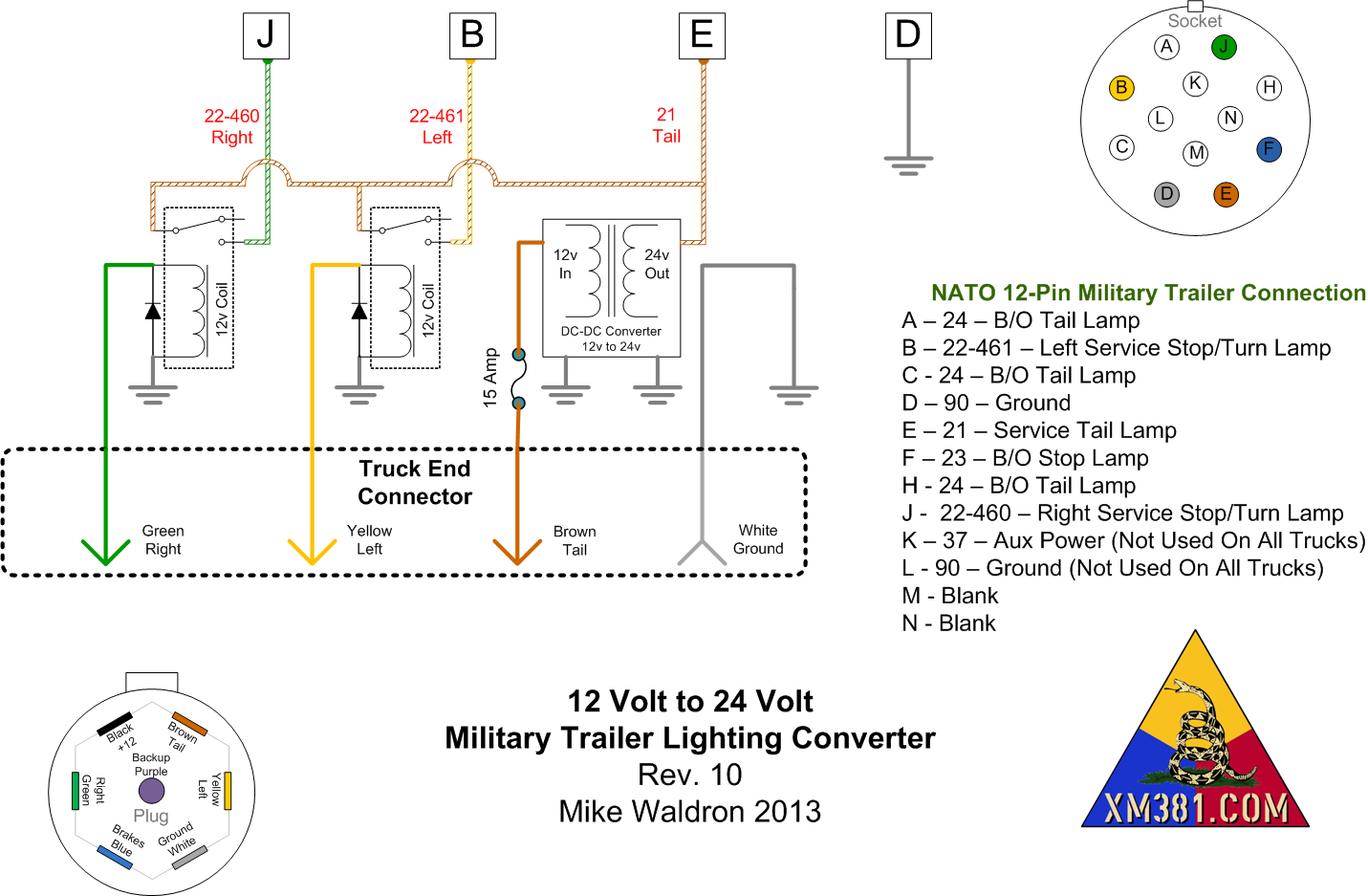 xm381 - 12 volt civllian truck to 24 volt military trailer ... 24 volt u s military 12 pin trailer plug wiring diagram