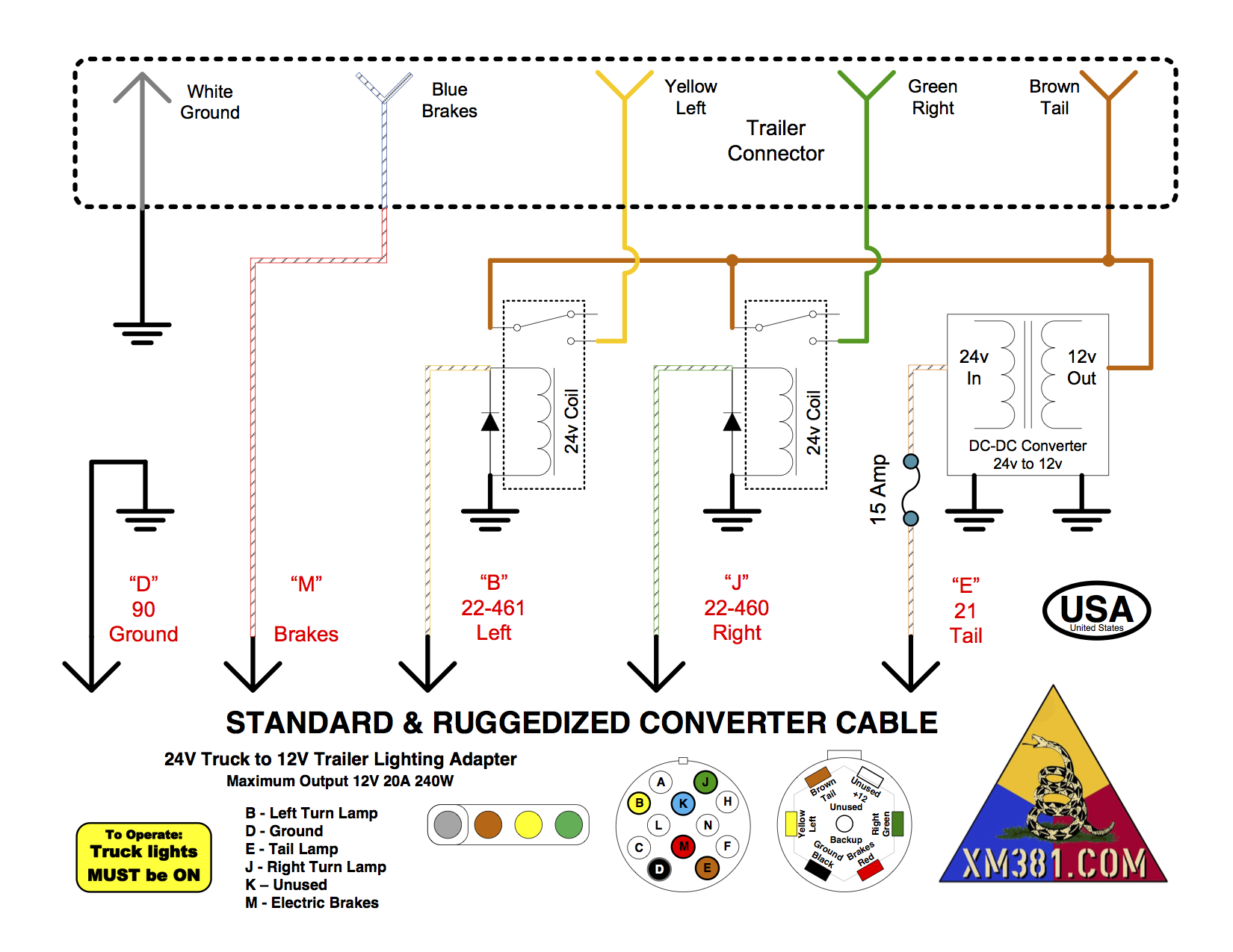Xm381 24 Volt Military Truck To 12 Civillian Trailer Lighting Euro Wiring Diagram Ruggedized Frame Rail Mounted Converter